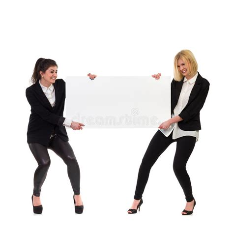 business people pulling blank banner stock image image