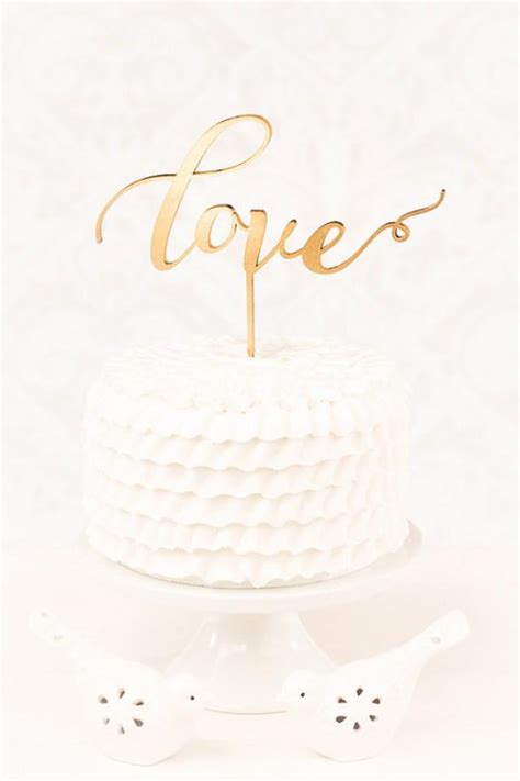 Custom Gold Love Wedding Cake Topper Calligraphy Cake