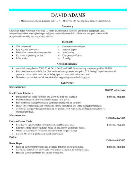 A Sle Of Cv by Sales Assistant Cv Template Cv Sles Exles