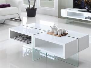 Table Basse Blanche Et Verre : table basse brooke mdf laqu et verre tremp blanc ~ Teatrodelosmanantiales.com Idées de Décoration