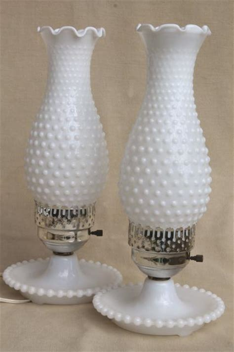 pair vintage milk glass lamps  beaded edge lamp bases