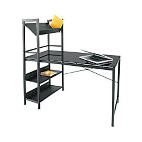 officemax glass and metal dorm room peninsula l desk by