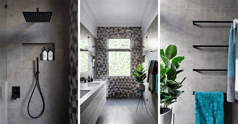 Modern Bathroom Grey And White by Matte Black Accents Add Sophistication To This Grey And