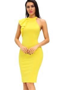 Yellow Mock Neck Ruffles Sleeveless Sexy Bodycon Dress @ Party Dresses