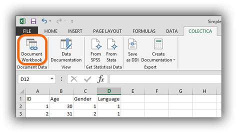 document your excel workbook colectica 5 4 documentation
