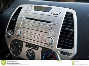 Car Stereo  U0026 Air Conditioning Controls Stock Photo