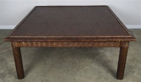 Coffee table ottoman modern button tufted leather chair footstool. Midcentury Leather Woven Coffee Table by ENT For Sale at 1stdibs