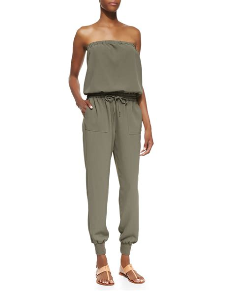 joie jumpsuit joie farley strapless jersey jumpsuit in black fatigue