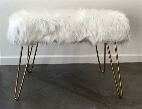 faux fur bench custom faux fur bench with hairpin legs