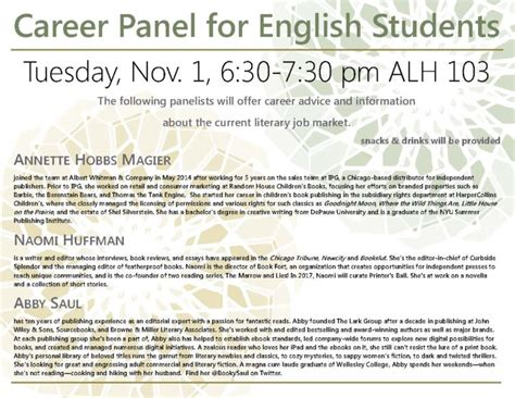 career panel english students libris