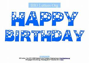 Big happy birthday printable letter banners big letters org for Happy birthday big letters