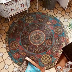 Tapis Rond Mandala : tapis rond de salon taupe esprit home mandala ~ Teatrodelosmanantiales.com Idées de Décoration