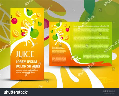 Brochure Design Template Juice Fruit Drops Stock Vector Brochure Folder Juice Fruit Drops Liquid Stock Vector