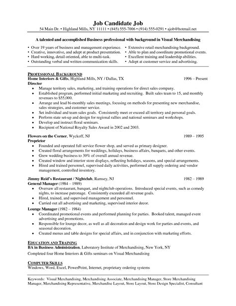 Visual Merchandising Manager Resume Objective by Professional Resume Writing Services Hea Employment