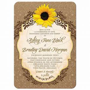 Sunflower Wedding Invitation Rustic Burlap and Lace Floral