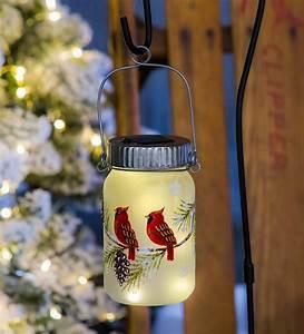 Cardinal, Solar, Mason, Jar, Lantern