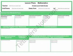 Interactive Lesson Plan Form For Middle School Grades 6