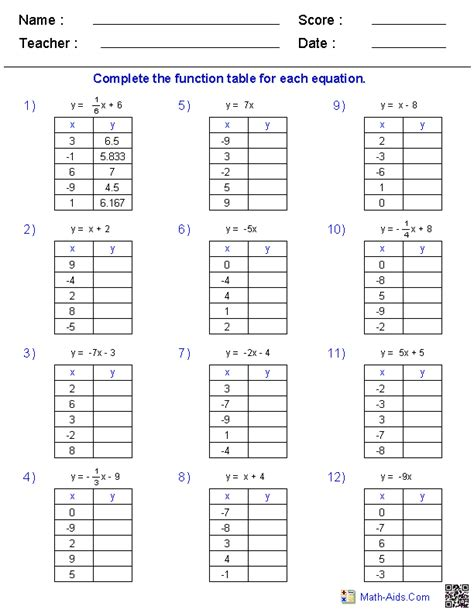 function tables worksheet pdf math worksheets dynamically created math worksheets