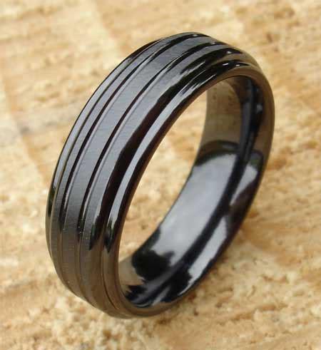 tough hard wearing black zirconium wedding ring  men