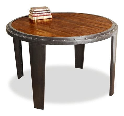 rustic industrial dining table taloro rustic industrial round dining table kathy kuo home