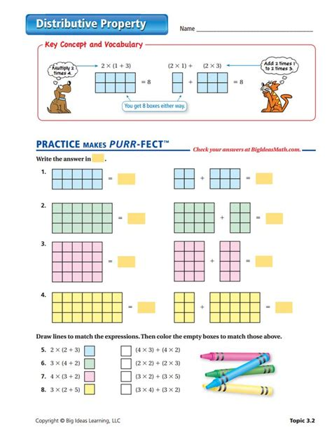 Middle School Math Distributive Property Worksheets  The Commutative And Associative Properties