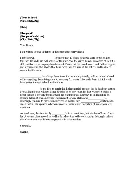 writing a letter to a judge writing plea leniency letter judge character reference 31693
