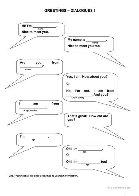 dialogues worksheet  esl printable