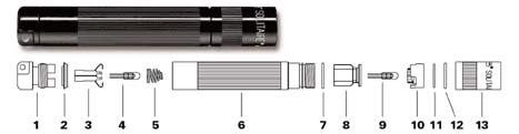 Li Led Flashlight Diagram by Kit De Pi 232 Ces D 233 Tach 233 Es Pour Maglite Solitaire