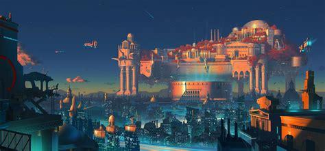 wallpaper digital art fantasy art cityscape night
