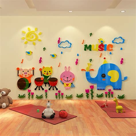 animal 3d three dimensional wall stickers children 200 | Cartoon animal 3D three dimensional wall stickers children s room decoration music kindergarten class early wall