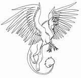 Griffin Coloring Pages Cat Gryphon Winged Anime Printable Horntail Hungarian Pet Drawing Drawings Lineart Sketch Template sketch template