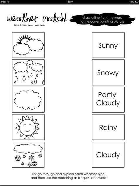 weather word and picture match pre school weather