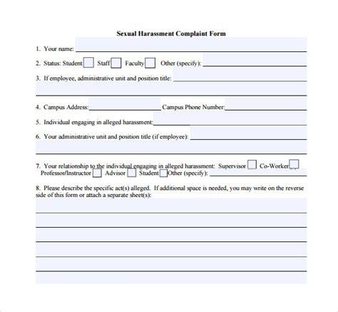 7 harassment complaint forms sles exles formats