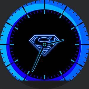 Neon Blue Superman  U2013 Watchfaces For Smart Watches