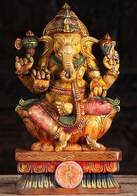 SOLD Wood Painted Ganesha Sculpture 18