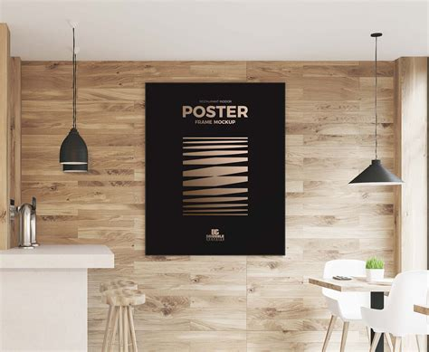 ✓ free for commercial use ✓ high quality images. Indoor Restaurant Wall Poster Mockup (PSD)