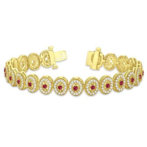 ruby 6 00ct ruby halo vintage bracelet 18k yellow gold 6 00ct allurez