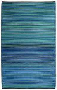 Garten im quadrat outdoor teppich cancun streifen blau for Balkon teppich mit tapete silber streifen