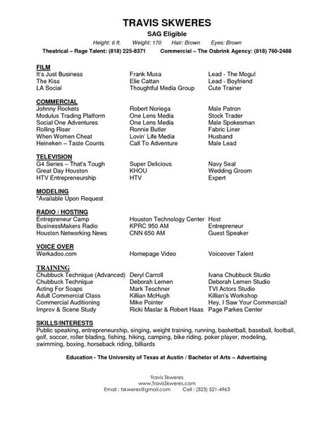 Acting Resumes 2015 by 25 Best Ideas About Acting Resume Template On Resume Templates Resume