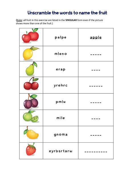 word scramble puzzles fruit  worksheets scramble