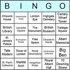 London Landmarks Bingo Cards  Printable Bingo Activity, Game, And Templates