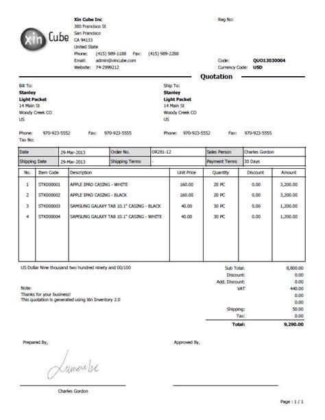 quotation business  invoice sample letter sample