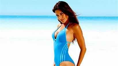 Swimsuit Desktop Wallpapers Brunette Pc Smile Slim