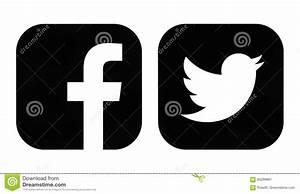 Icone Del Nero Di Twitter E Di Facebook Fotografia ...