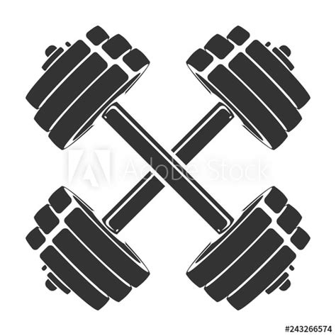 vector hand drawn silhouette  crossed dumbbells isolated