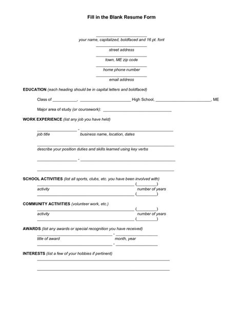 Printable Resume Blank Form by Blank Resume Form Free Resume Templates