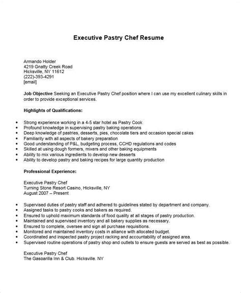 pastry chef resume exles 35 free executive resumes