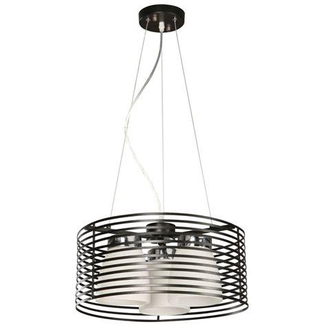 hton bay aranga 3 light matte black drum pendant 03271
