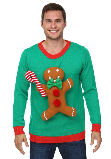 3d gingerbread man christmas sweater
