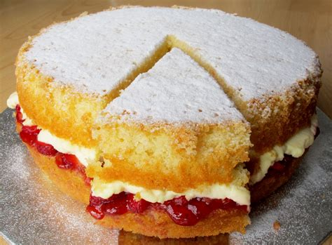 sam tans kitchen victoria sponge  fresh strawberries